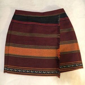 LOFT Burgundy-Multicolor western skirt Petite